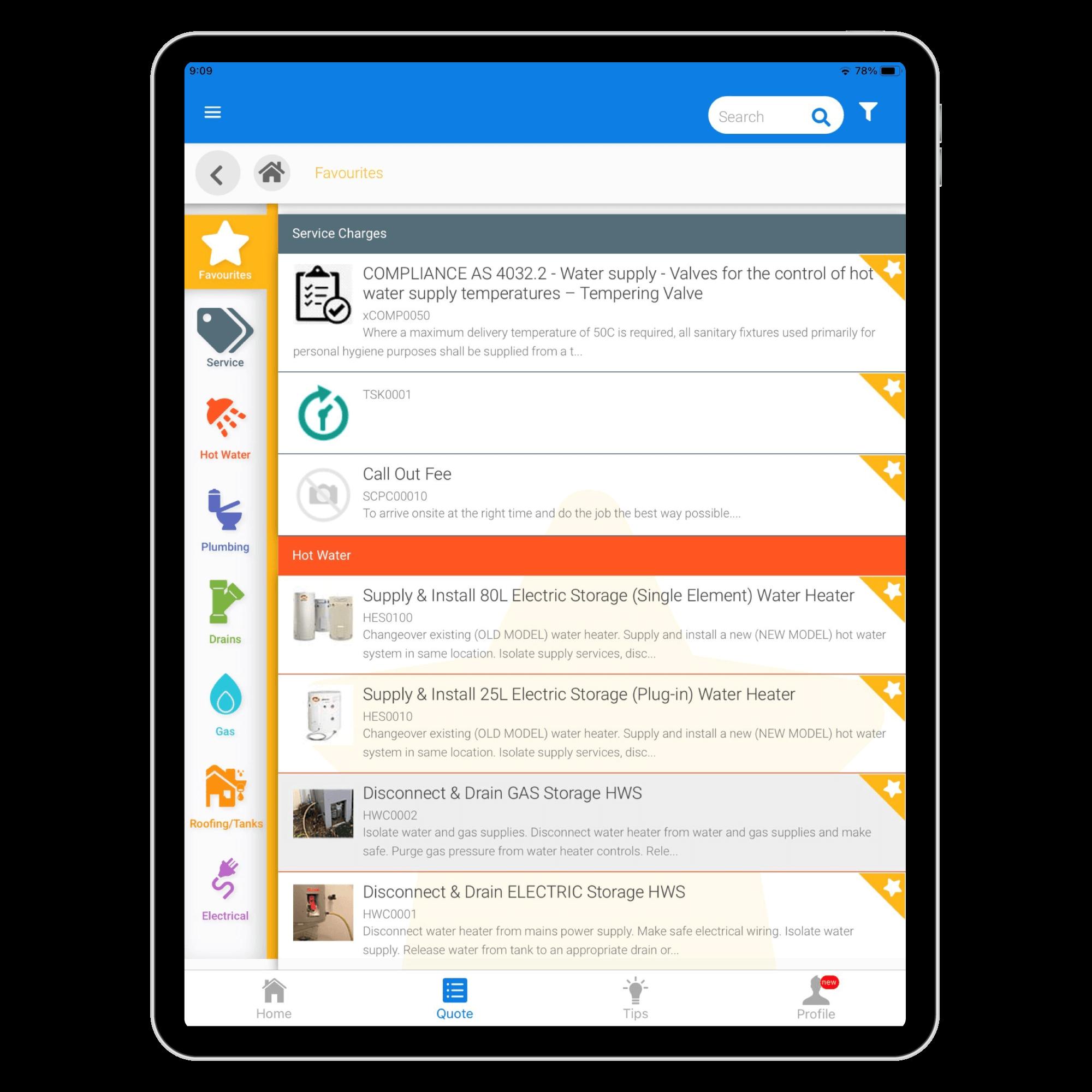 FlatRateNOW-iPad-Demo-In-App-Pricebook